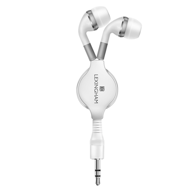 retracable earphones white 5210 lexingham